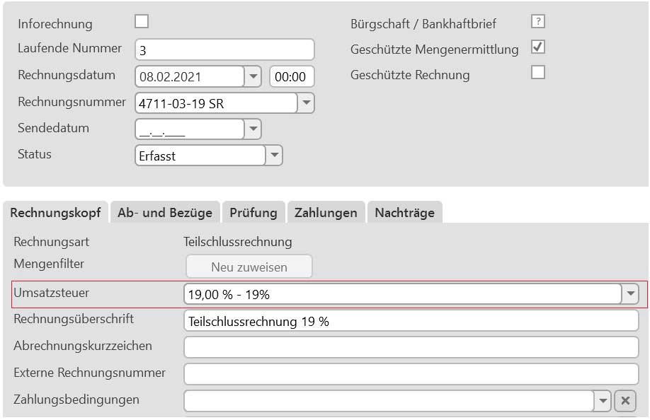 Rechnungskopf mit neuem Umsatzsteuerfeld
