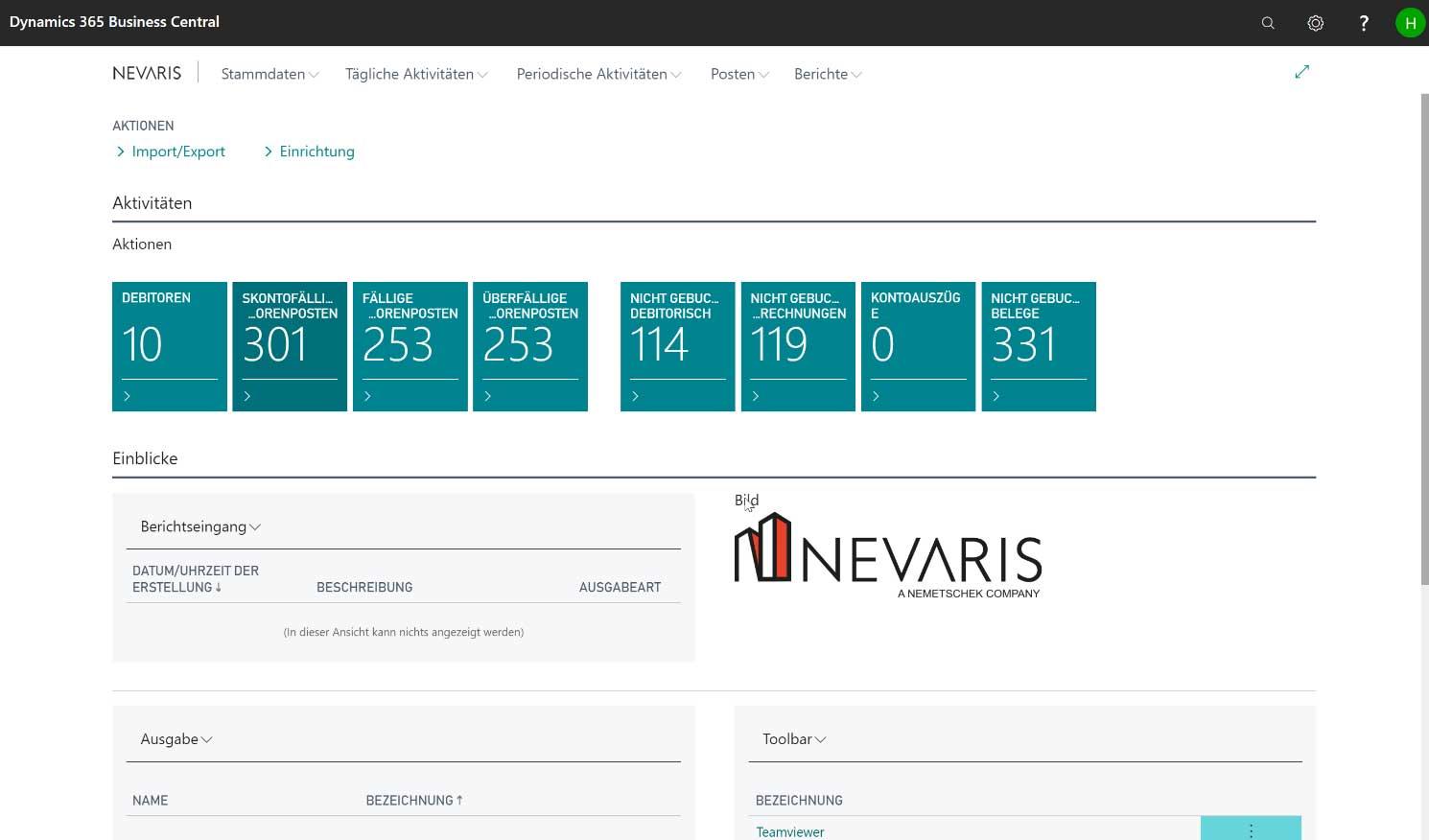 Dashboard NEVARIS Finance BC